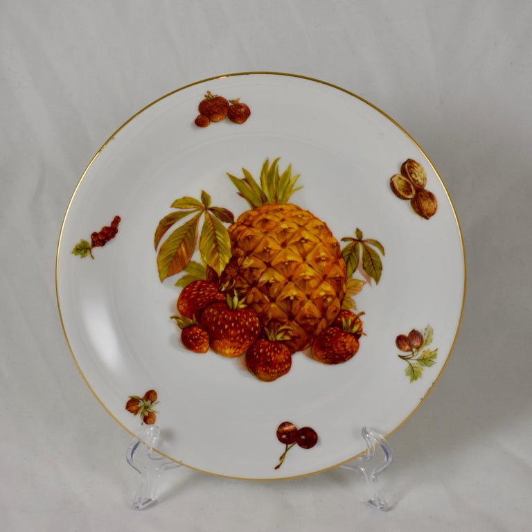 West German Selten Weiden Autumn Fruit & Nuts Porcelain Plates, Set of 8 In Excellent Condition For Sale In Philadelphia, PA