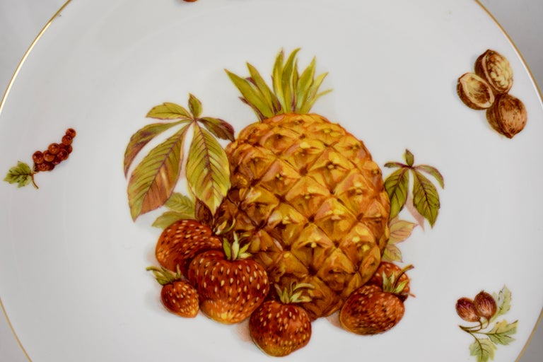 20th Century West German Selten Weiden Autumn Fruit & Nuts Porcelain Plates, Set of 8 For Sale