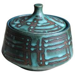 West Germany, Lidded Jar / Bowl, Semi-Glazed Stoneware, Germany, 1960s