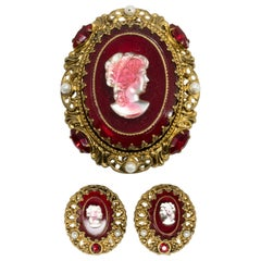 West Germany Red Glass Cameo Brooch and Clip On Earrings, Faux Pearls, Goldtone