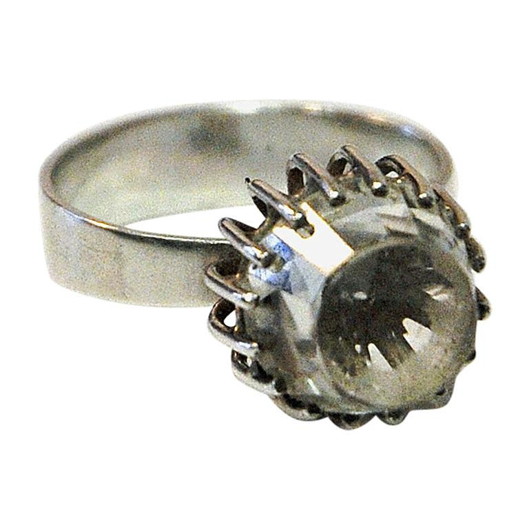 West Germany Silver Ring with Rock Crystal Stone, 1960s
