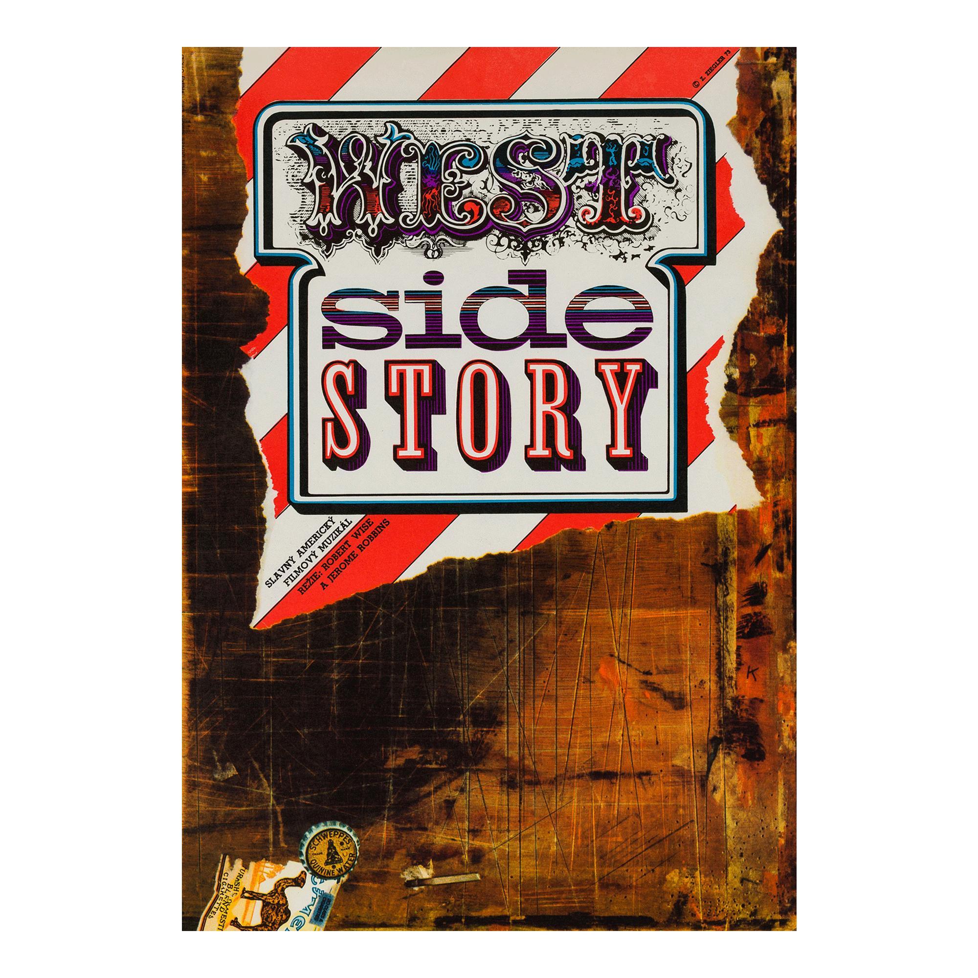 West Side Story Czech Film Movie Poster, Zdeněk Ziegler, 1973