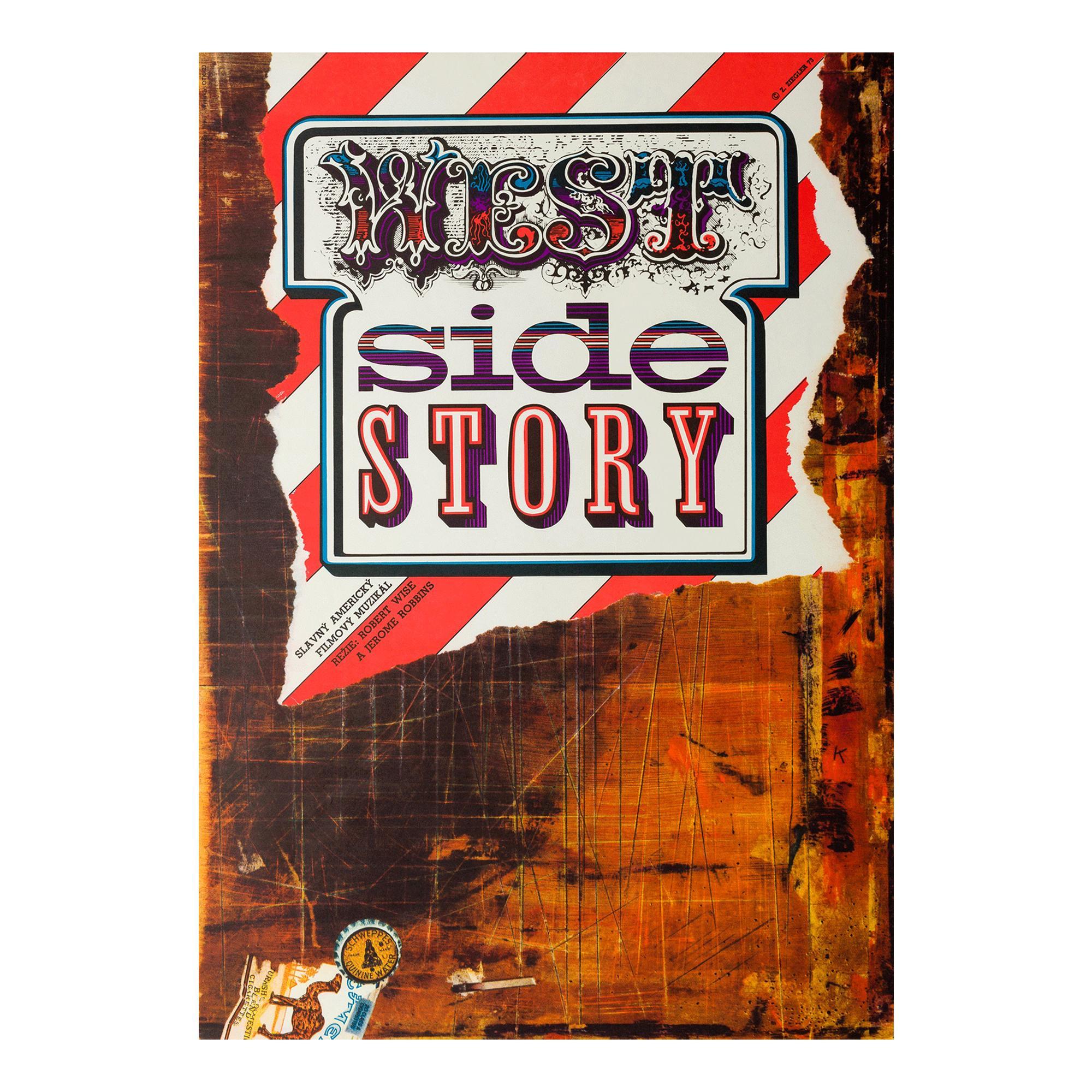 """""""West Side Story"""" Czech Large Format Film Movie Poster, Zdeněk Ziegler, 1973"""