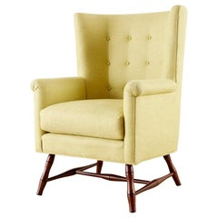 Westcott Citron Linen Wing Chair by Bunny Williams