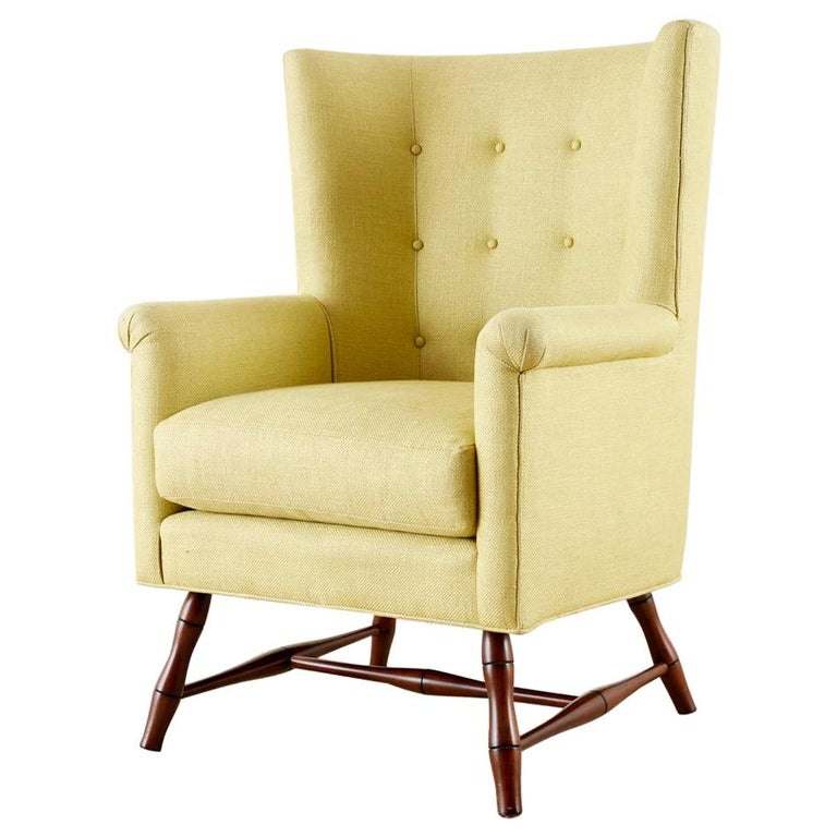 Westcott Citron Linen Wing Chair By