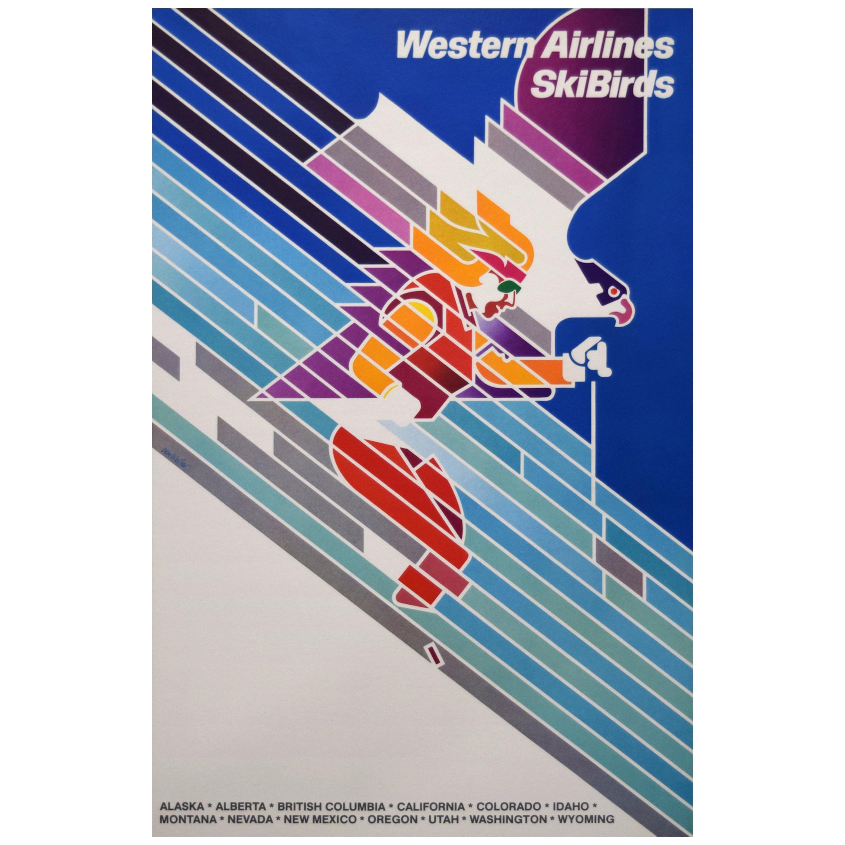 Western Airlines 1970s SkiBirds Poster, Weller