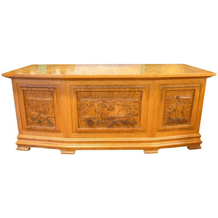 Western Art Ft. Benton Five Panel Desk For Sale