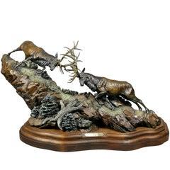 """Western Bronze of Elk """"Forces of Nature"""" by Ken Rowe"""