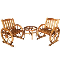 Western Folk Art Wagon Wheel Table and Chairs Set, 1960