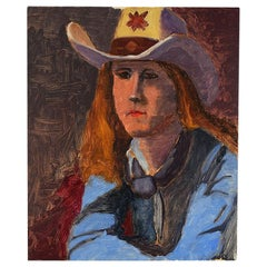 Western Portrait Painting of a Woman in Cowboy Hat