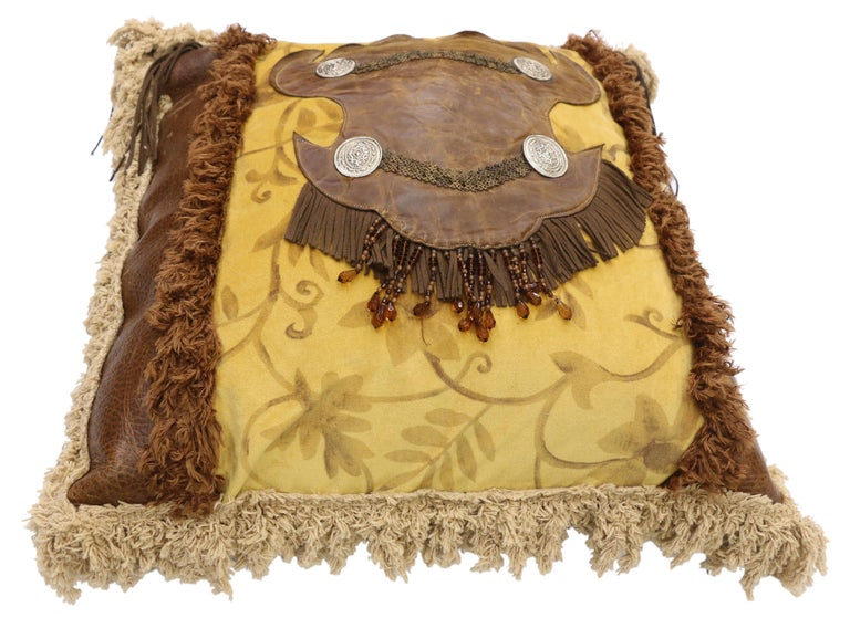 Native American Western Rockabilly Style Leather Throw Pillow with Fringe and Tassels For Sale