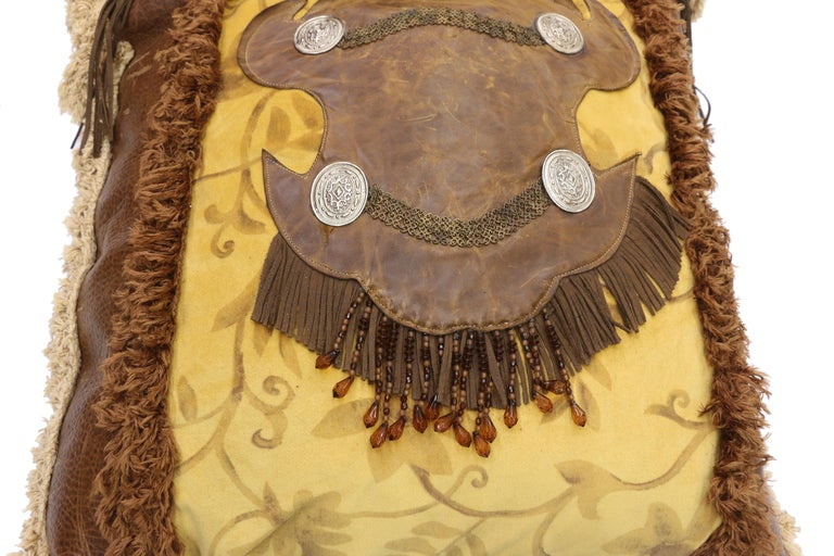 American Western Rockabilly Style Leather Throw Pillow with Fringe and Tassels For Sale