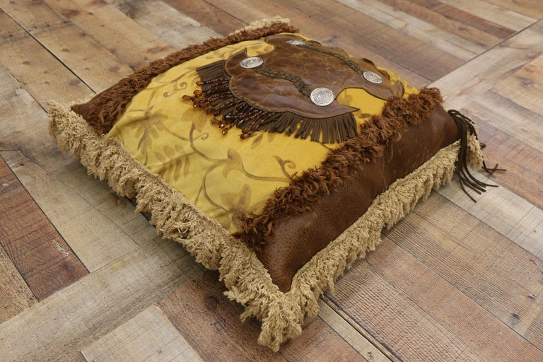 Contemporary Western Rockabilly Style Leather Throw Pillow with Fringe and Tassels For Sale