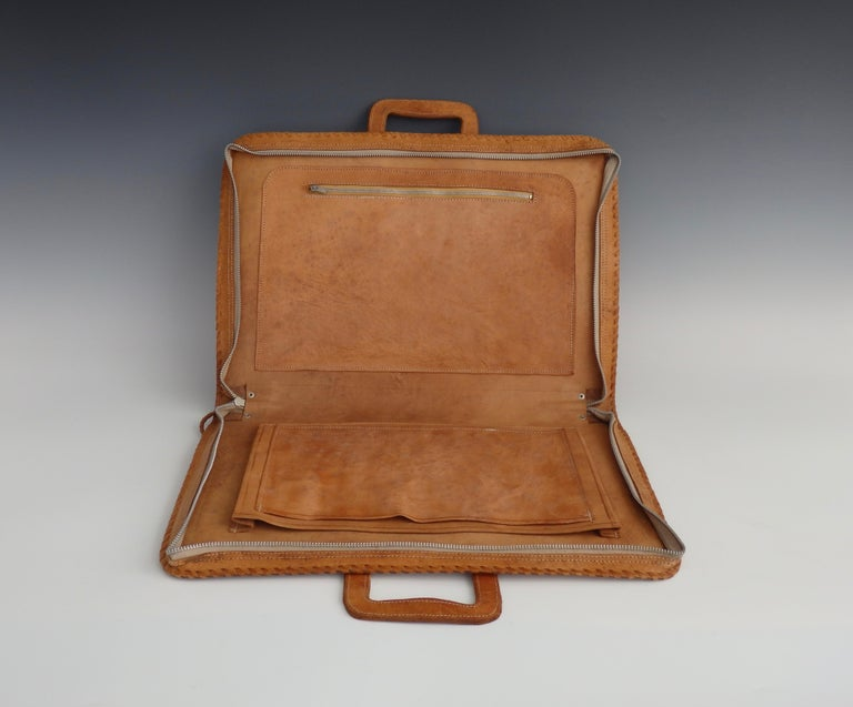 Western Style Hand Tooled Leather Attache Case For Sale 3