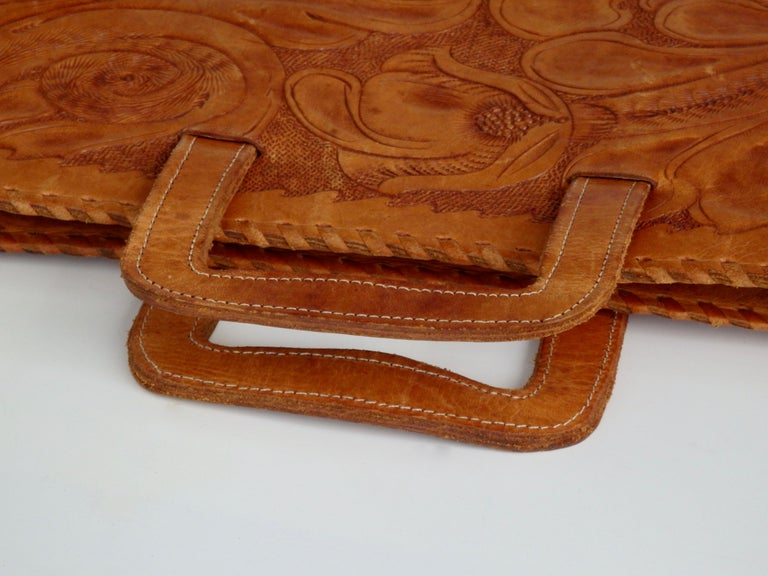 Western Style Hand Tooled Leather Attache Case For Sale 4