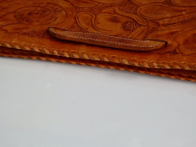 Western Style Hand Tooled Leather Attache Case For Sale 5