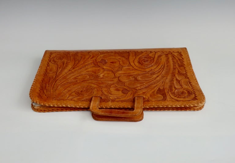 Rustic Western Style Hand Tooled Leather Attache Case For Sale