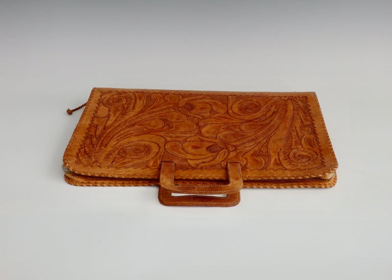 Hand-Crafted Western Style Hand Tooled Leather Attache Case For Sale