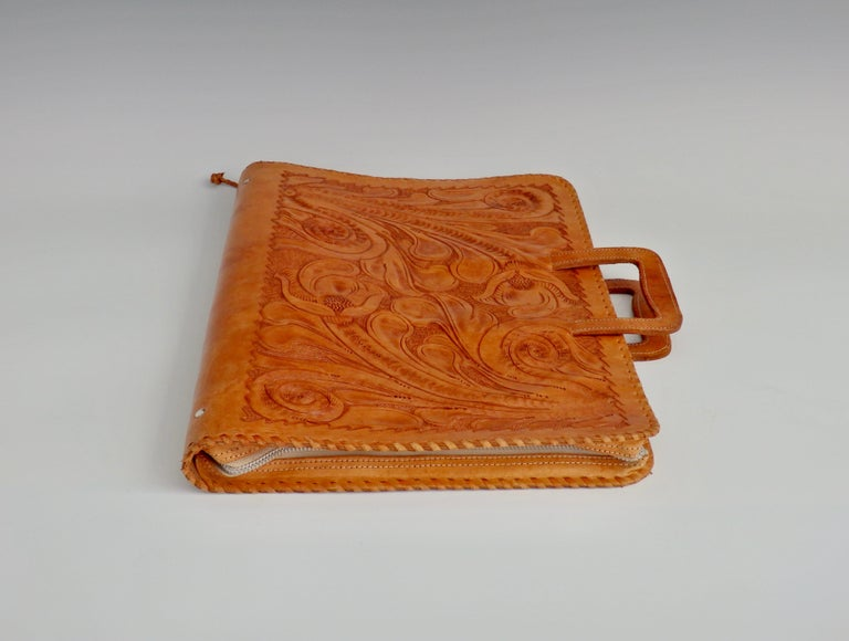 20th Century Western Style Hand Tooled Leather Attache Case For Sale