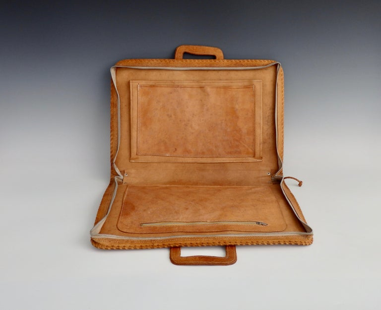 Western Style Hand Tooled Leather Attache Case For Sale 2