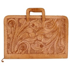 Western Style Hand Tooled Leather Attache Case