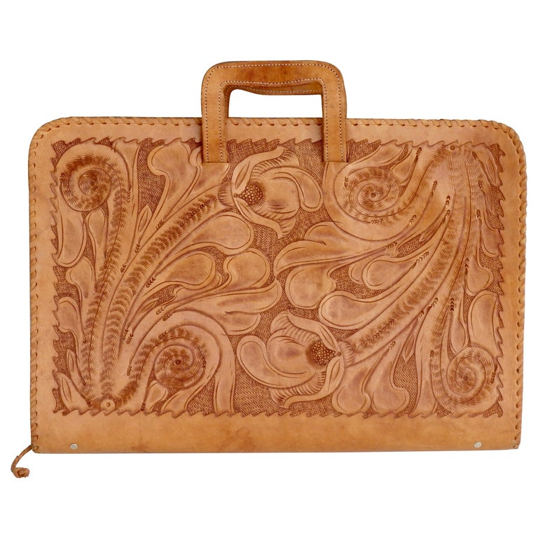 Western Style Hand Tooled Leather Attache Case For Sale