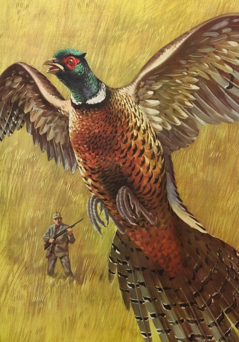 Western Winchester Pheasant Hunting Poster by Weimar Pursell, circa 1955 In Good Condition For Sale In Colorado Springs, CO