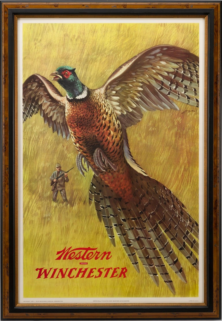 Mid-20th Century Western Winchester Pheasant Hunting Poster by Weimar Pursell, circa 1955 For Sale