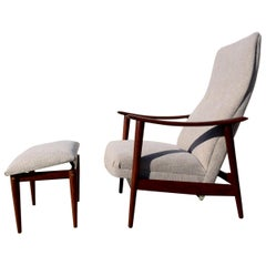 Westnofa Lounge Chair and Ottoman Danish Modern, Walnut