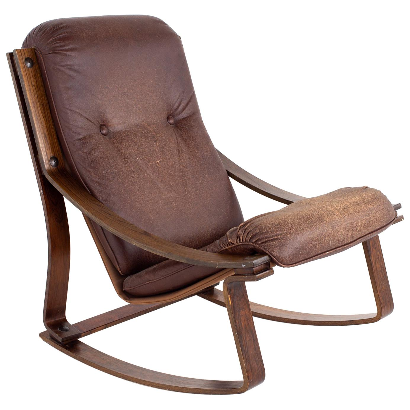 Westnofa Mid Century Rosewood and Brown Leather Rocking Chair