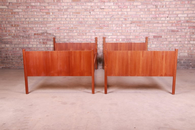A gorgeous pair of midcentury Scandinavian Modern teak twin size bed frames