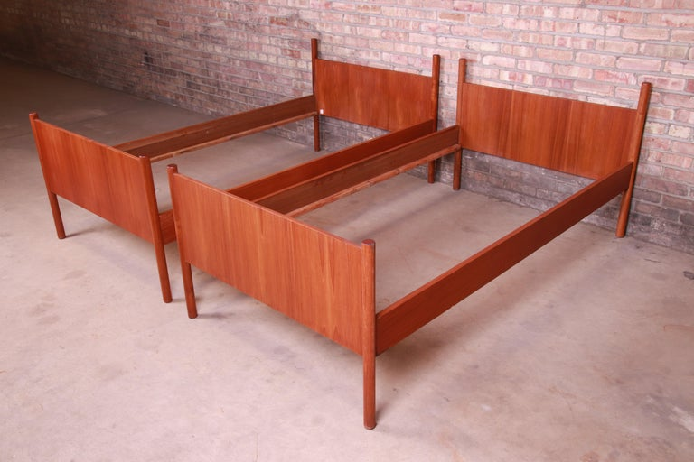Norwegian Westnofa Midcentury Scandinavian Modern Teak Twin Bed Frames, Pair For Sale