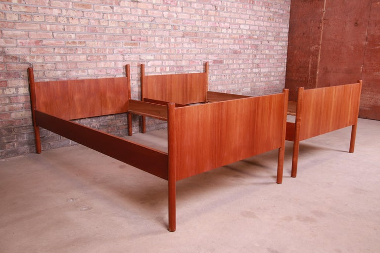 Mid-20th Century Westnofa Midcentury Scandinavian Modern Teak Twin Bed Frames, Pair For Sale