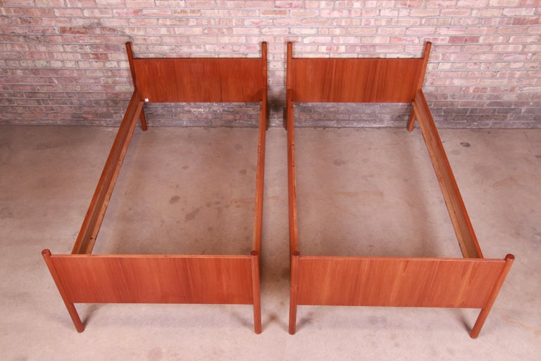 Westnofa Midcentury Scandinavian Modern Teak Twin Bed Frames, Pair For Sale 4