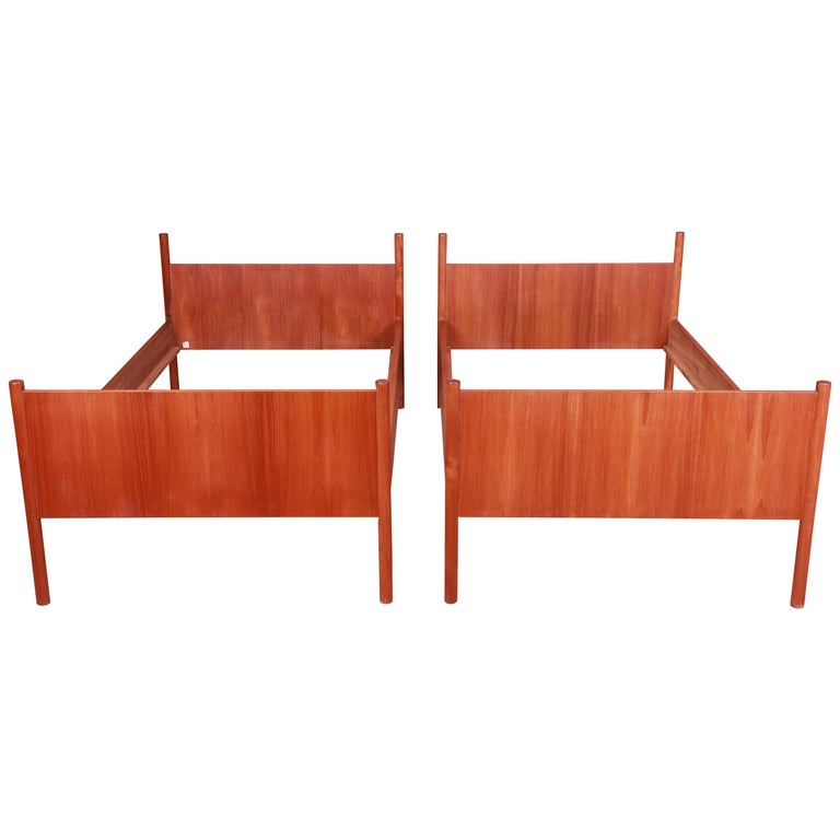 Westnofa Midcentury Scandinavian Modern Teak Twin Bed Frames, Pair For Sale