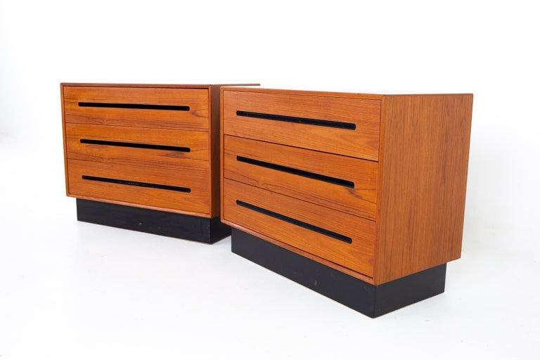 Westnofa mid century teak 3 drawer dresser chest - pair Each dresser measures: 36 wide x 18 deep x 29 inches high  All pieces of furniture can be had in what we call restored vintage condition. That means the piece is restored upon purchase so