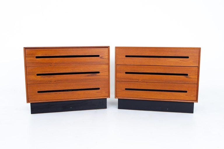 Mid-Century Modern Westnofa Mid Century Teak 3 Drawer Dresser Chest - Pair For Sale