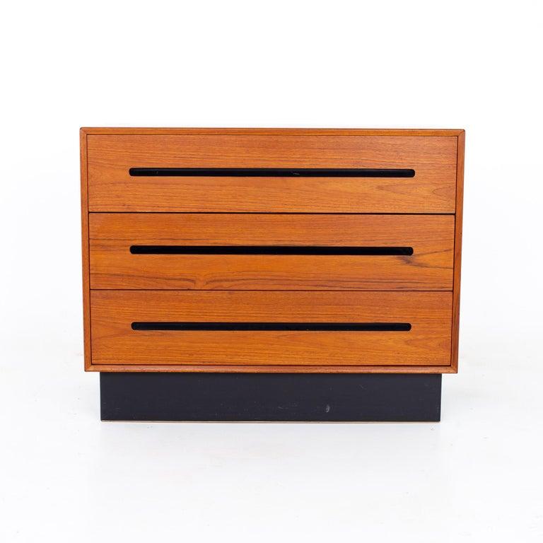 Late 20th Century Westnofa Mid Century Teak 3 Drawer Dresser Chest - Pair For Sale