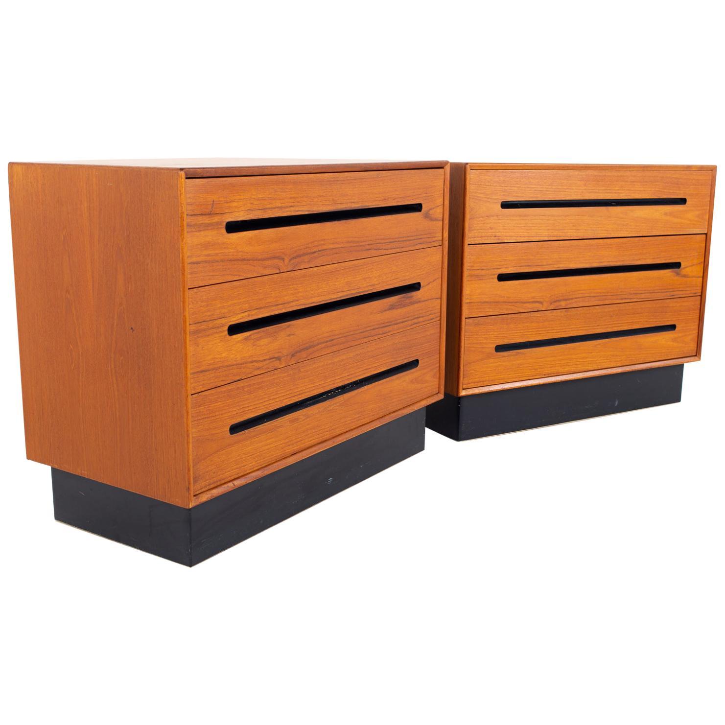 Westnofa Mid Century Teak 3 Drawer Dresser Chest - Pair