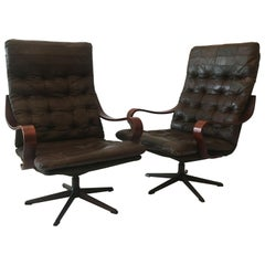 Westnova High Back Swivel Lounge Chairs Patchwork Leather, a Pair, Norway, 1970