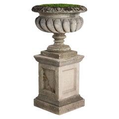 Westonbirt Cast Stone Urn and Pedestal, circa 1970