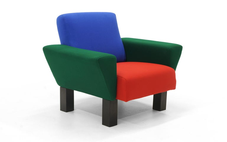 Rare Westside lounge chair by the master of Postmodern design, Ettore Sottsass. Expertly restored and reupholstered in the identical color fabric as the original. Made by Knoll.