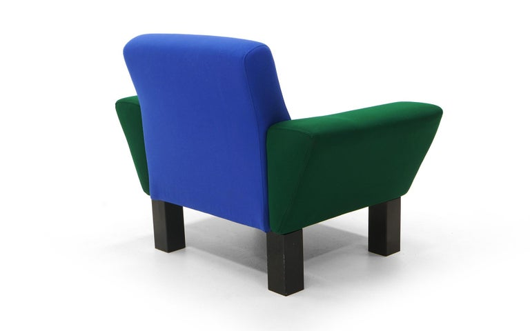 Westside Lounge Chair by Ettore Sottsass for Knoll, 1983, Expertly Reupholstered In Good Condition For Sale In Kansas City, MO