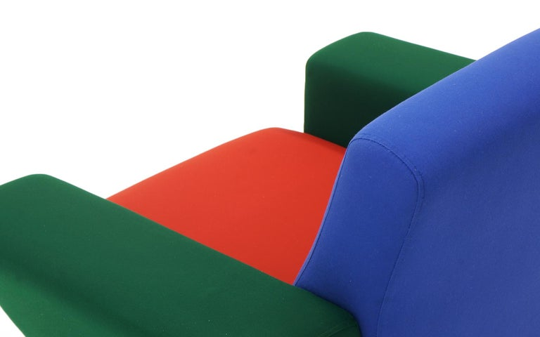 Steel Westside Lounge Chair by Ettore Sottsass for Knoll, 1983, Expertly Reupholstered For Sale