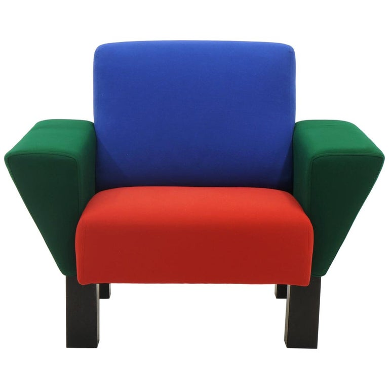 Westside Lounge Chair by Ettore Sottsass for Knoll, 1983, Expertly Reupholstered For Sale
