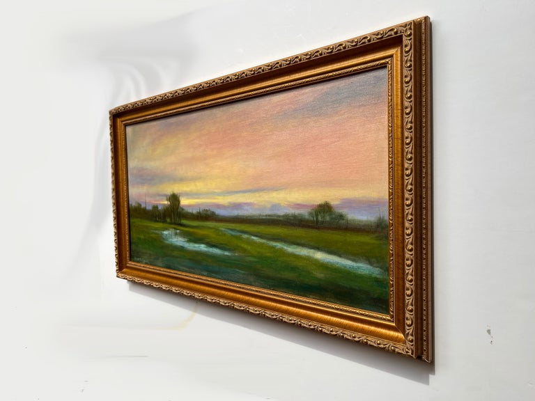 Hand-Painted Wetlands, Reflective Marsh on a Spring Sky, Soft Romantic Colors, Original Oil For Sale