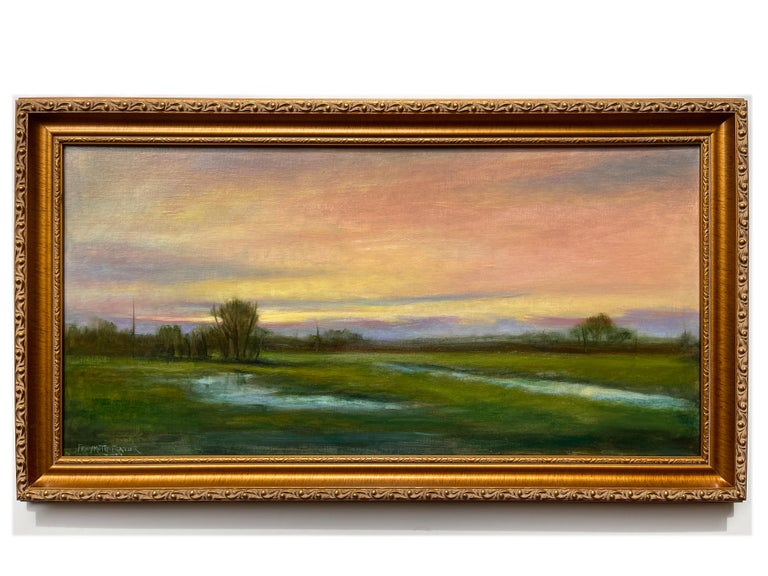 Wetlands, Reflective Marsh on a Spring Sky, Soft Romantic Colors, Original Oil For Sale 1