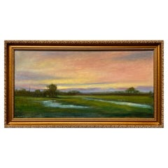 Wetlands, Reflective Marsh on a Spring Sky, Soft Romantic Colors, Original Oil