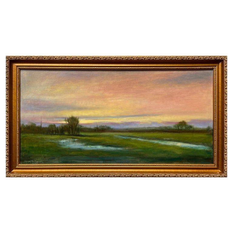 Wetlands, Reflective Marsh on a Spring Sky, Soft Romantic Colors, Original Oil For Sale