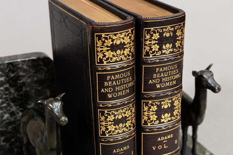 """2 Volumes.   """"Extra Illustrated"""" with many hand colored plates, engravings, prints, photos. Bound in full black Morocco, all edges gilt, raised bands, ornate gilt on spines. Published: London: Charles J. Skeet 1865.  Measures: H 8 inches, D 5"""